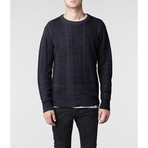 All Saints Blue Hanoi Crew Neck Cable Knit Sweater